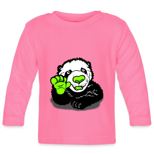 Waving Happy Panda Lime - Baby Long Sleeve T-Shirt