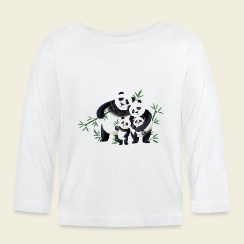 Pandafamilie zwei Kinder - Baby Langarmshirt