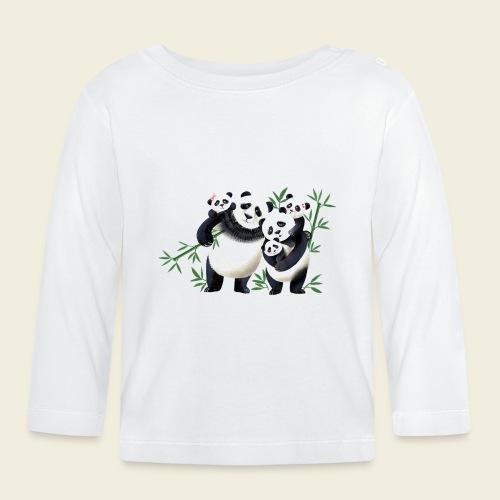 Pandafamilie drei Kinder - Baby Langarmshirt