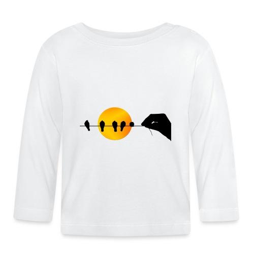 Una mano que sostiene pájaros. - Camiseta manga larga bebé