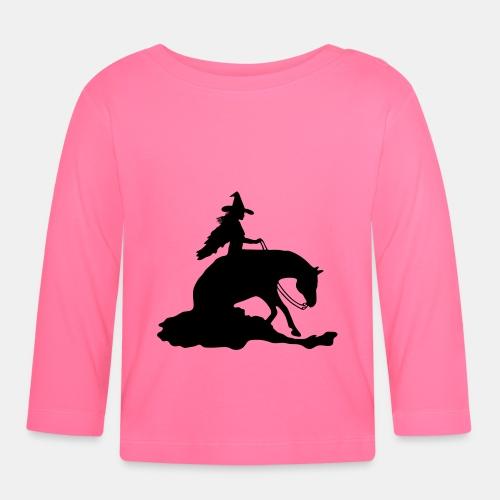 Hexe auf Westernpferd, Sliding Stop - Baby Langarmshirt
