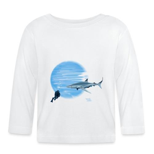 Grand requin et plongeur - T-shirt manches longues Bébé
