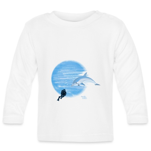 Dolphin and diver - Maillots - T-shirt manches longues Bébé