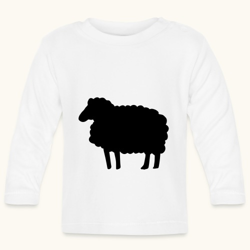 Farbe anpassbar Lustiges Schaf Silhouette Geschenk - T-shirt manches longues Bébé