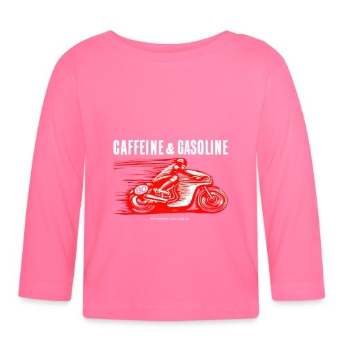 Caffeine & Gasoline white text - Baby Long Sleeve T-Shirt
