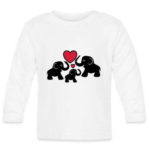 Zu dritt Elefanten Familie Mama Papa Baby Herz - Baby Langarmshirt