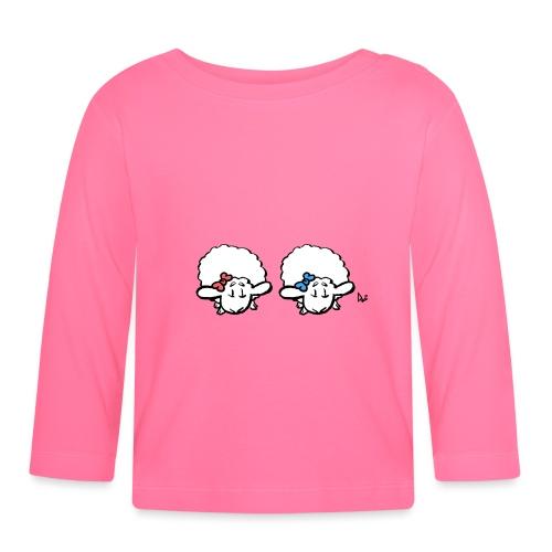 Baby Lamb Twins (różowy i niebieski) - Koszulka niemowlęca z długim rękawem