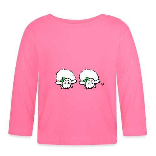 Baby lam tvillinger (grøn & grøn) - Langærmet babyshirt