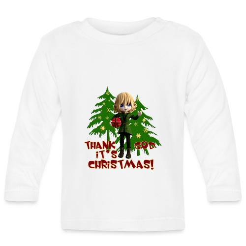 Weihnachtself Thank God it´s Christmas! - Baby Langarmshirt