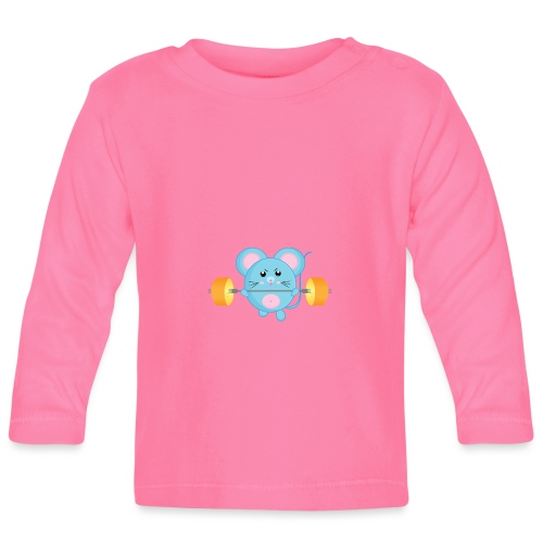 little mouse, mouse, mouse on sports, mouse with barbell - Baby Long Sleeve T-Shirt