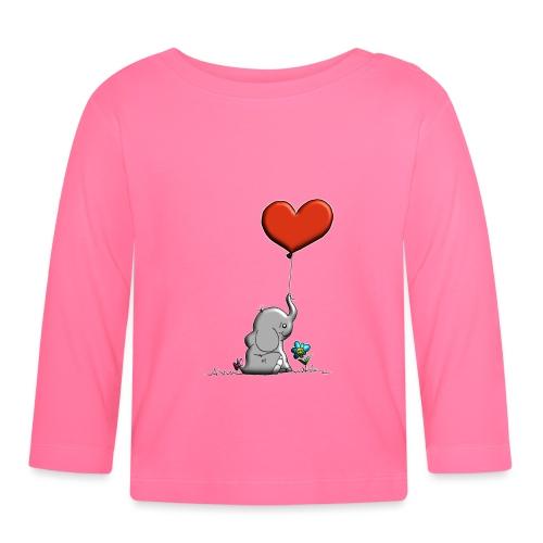Éléphant, coeur rouge, der Elefant - T-shirt manches longues Bébé