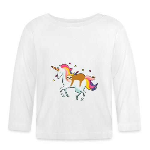 Funny Sloth Riding Unicorn - Baby Langarmshirt