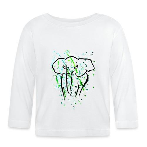 Afrikanischer Elefant I Kleckse - Baby Langarmshirt