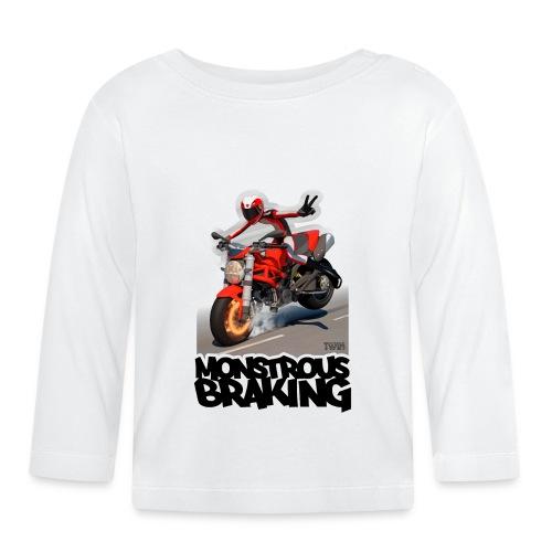 Ducati Monster, a motorcycle stoppie. - Camiseta manga larga bebé
