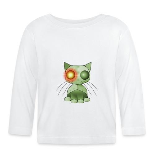 robotkatt grön med gulrött lysande öga - Baby Long Sleeve T-Shirt