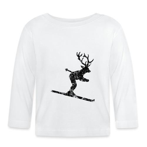 Skihirsch Vintage Schwarz (Hirsch) - Baby Langarmshirt