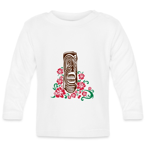 Tiki Totem with Hibiscus Flowers - Baby Long Sleeve T-Shirt