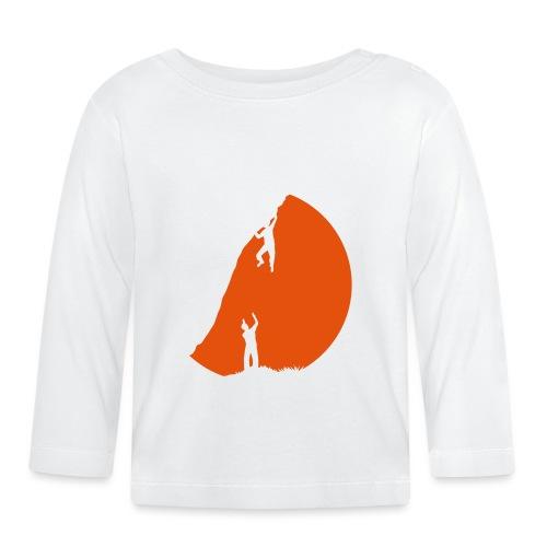 Boulderer mit Spotter im Sonnenuntergang - Baby Langarmshirt