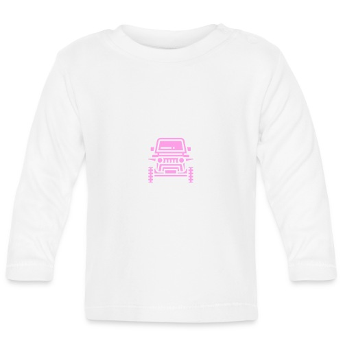 Outdoors pink car jeep - Koszulka niemowlęca z długim rękawem