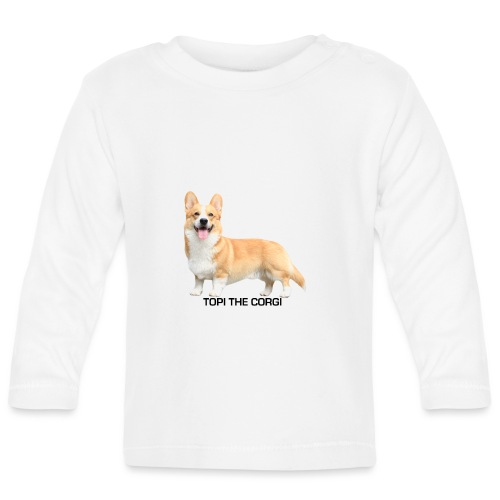 Topi the Corgi - Black text - Baby Long Sleeve T-Shirt