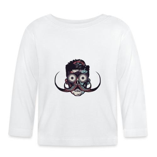 hipster tete de mort crane barbu skull moustache b - T-shirt manches longues Bébé