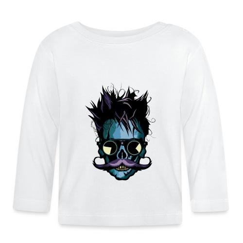 tete de mort hipster moustachu skull crane moustac - T-shirt manches longues Bébé