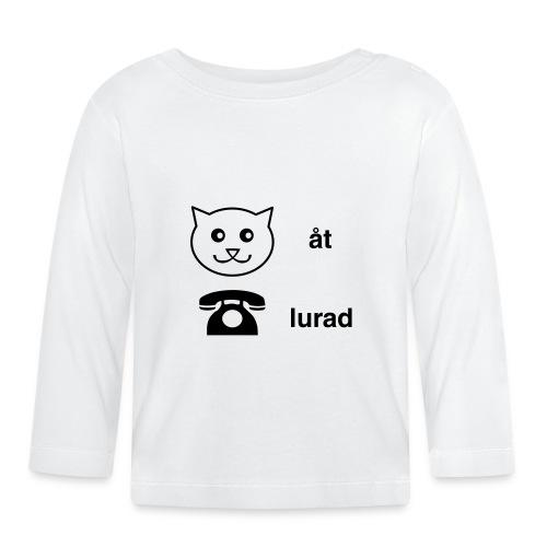 Katt åt telefon - Långärmad T-shirt baby