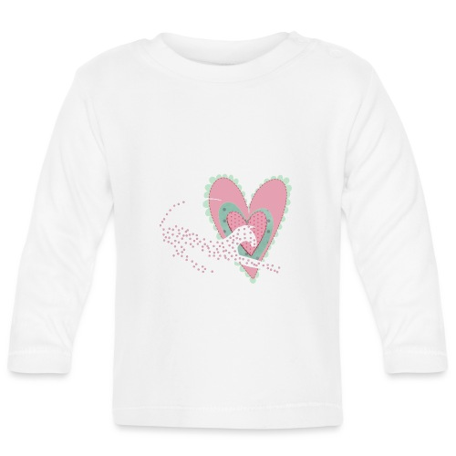 Vit katt rosa hjärta prickar - Långärmad T-shirt baby
