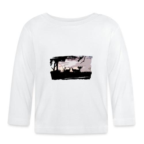 T-shirt cerf & biche personnalisé - T-shirt manches longues Bébé