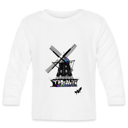 Windmill by BlackenedMoonArts, with logo - Langærmet babyshirt