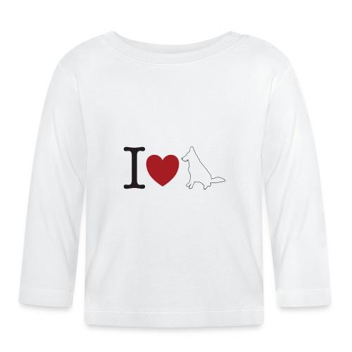 I LOVE White Dog - Koszulka niemowlęca z długim rękawem