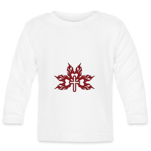 Cross with flaming hearts 01 - Baby Long Sleeve T-Shirt