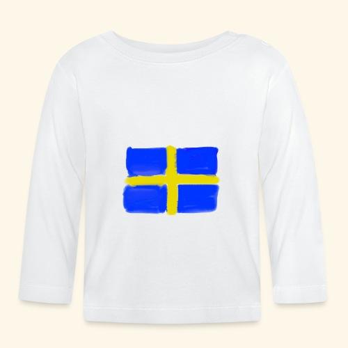 Swedish flag in Watercolours - Långärmad T-shirt baby