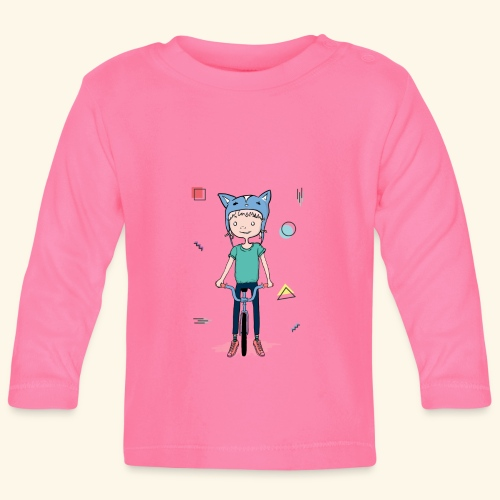 Girl with a cat hat on a bike - 90's - T-shirt manches longues Bébé