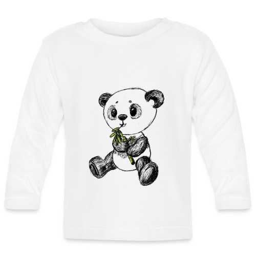 Panda bear colored scribblesirii - Baby Long Sleeve T-Shirt