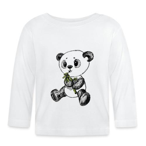 Panda bjørn farvet scribblesirii - Langærmet babyshirt