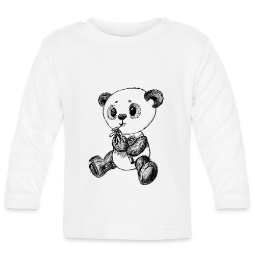 Panda bear black scribblesirii - Baby Long Sleeve T-Shirt