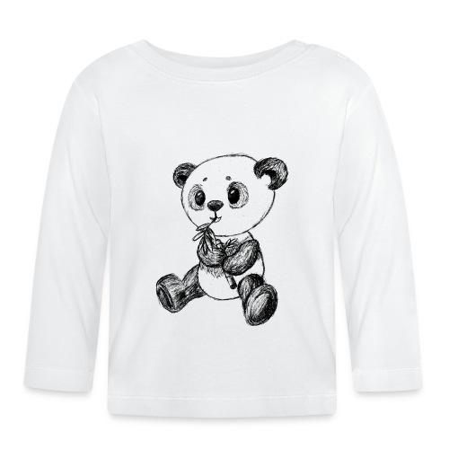 Panda bjørn sort scribblesirii - Langærmet babyshirt