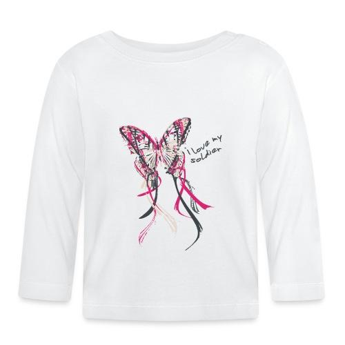 I love my soldier Butterfly3 pink dark - Baby Langarmshirt
