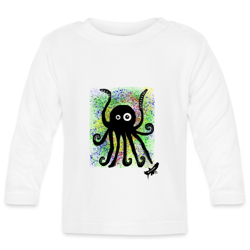 Sweet Octopus by BlackenedMoonArts, with logo - Langærmet babyshirt