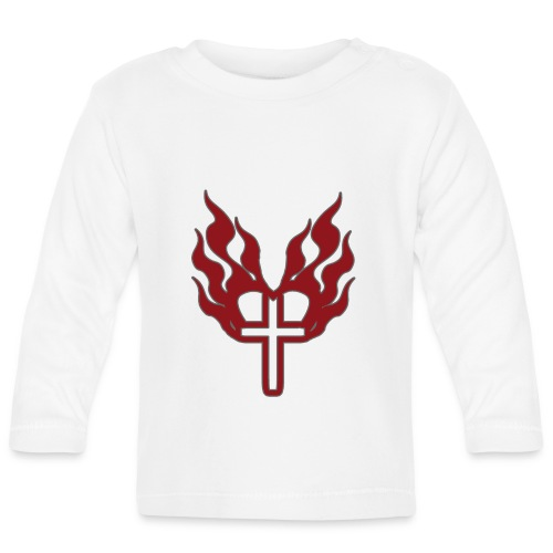 Cross and flaming hearts 02 - Baby Long Sleeve T-Shirt