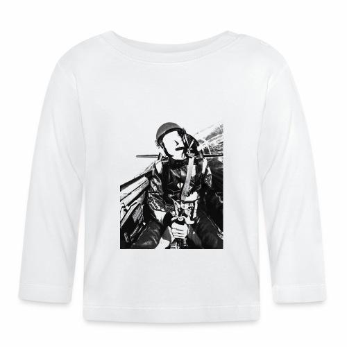piloto png ByN transparente - Camiseta manga larga bebé