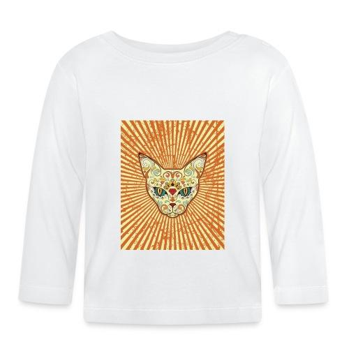 cat calavera grunge effect t shirt design - Maglietta a manica lunga per bambini