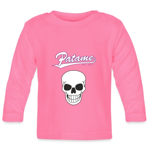 Patame White Purple with Skull - Baby Langarmshirt