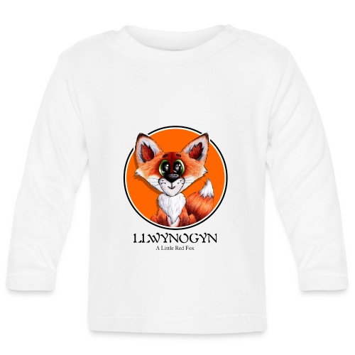 llwynogyn - a little red fox (black) - Langærmet babyshirt