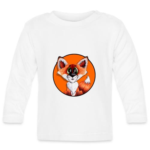 llwynogyn - a little red fox (white) - Langærmet babyshirt