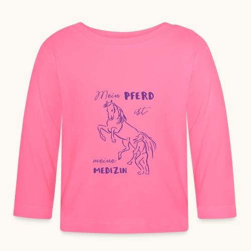 Mein Pferd ist meine Medizin lila Geschenk Spruch - T-shirt manches longues Bébé