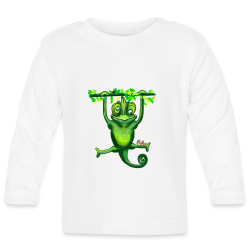 Hunting green chameleon print / design - Baby Long Sleeve T-Shirt