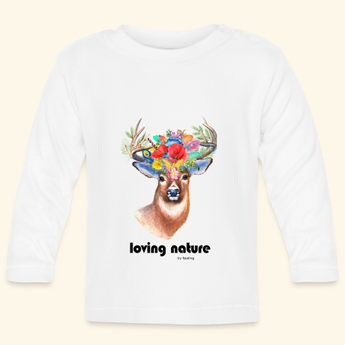 Ciervo con flores - Camiseta manga larga bebé