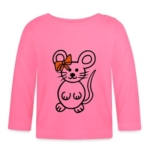 Maus mit Schleife - Baby Langarmshirt